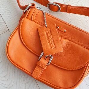 Daniel leather crossbody purse bag orange